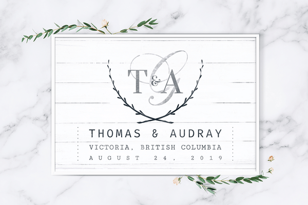 Wedding Day personalized print on a marble and greenery background