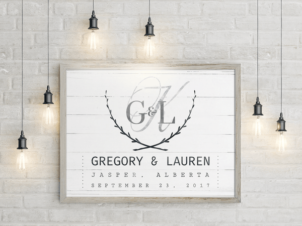 Wedding Day personalized print framed on the wall among rustic hanging lights