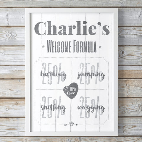 Welcome Formula - dog themed personalized print