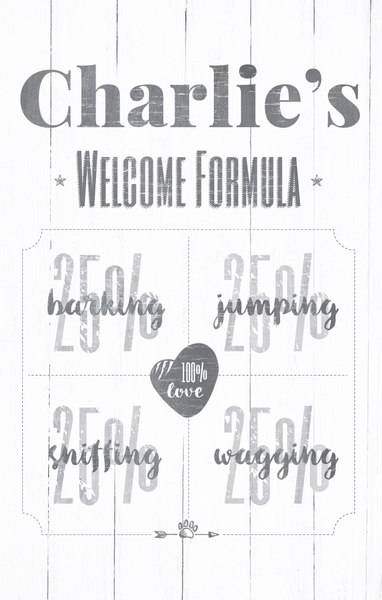 close up view of the Welcome Formula personalized print