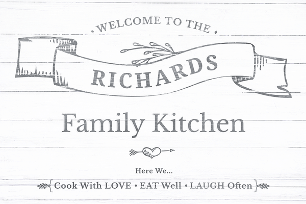 Closer look at the Welcome To Our Kitchen personalized print