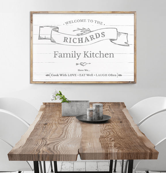 Framed Welcome To Our Kitchen personalized print hanging above a vintage dining table