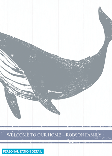 Close up of the personalization on the Whale print