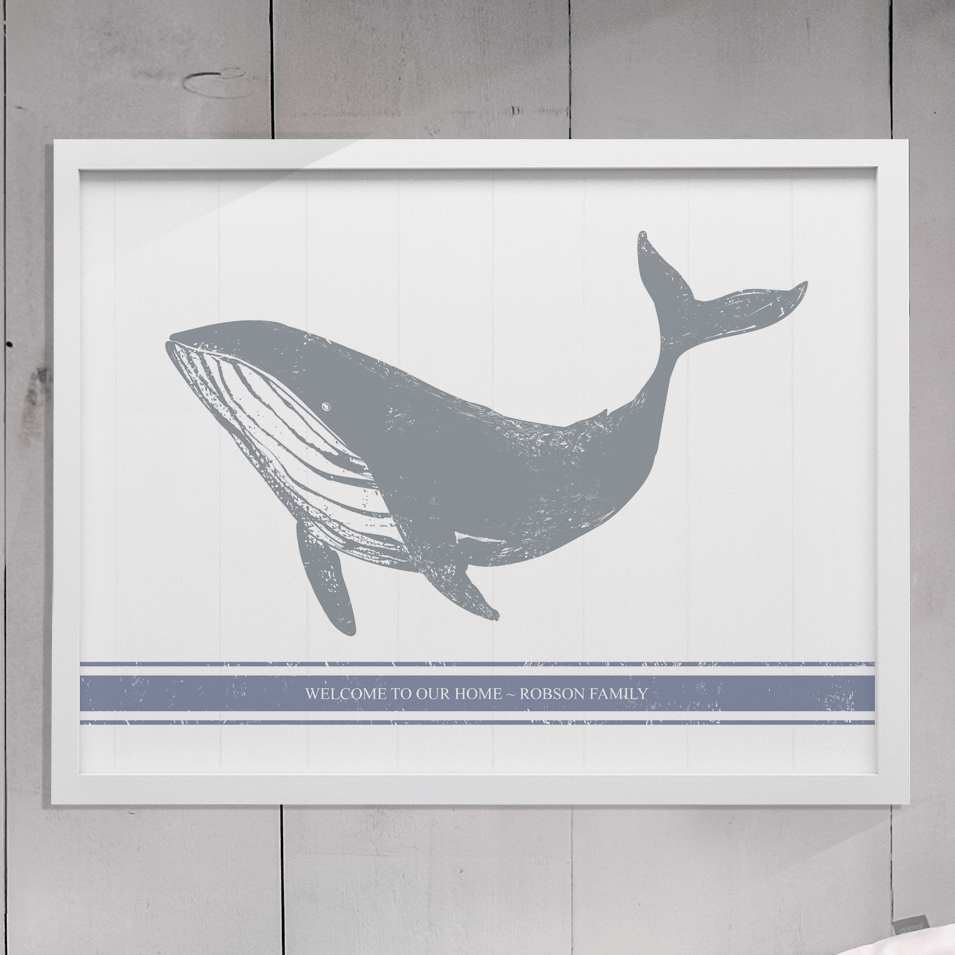 Rustic drawing of a whale with a blue stripe below. Personalize it with your family name!