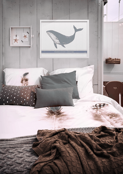 Rustic beach home interior with a personalized whale print
