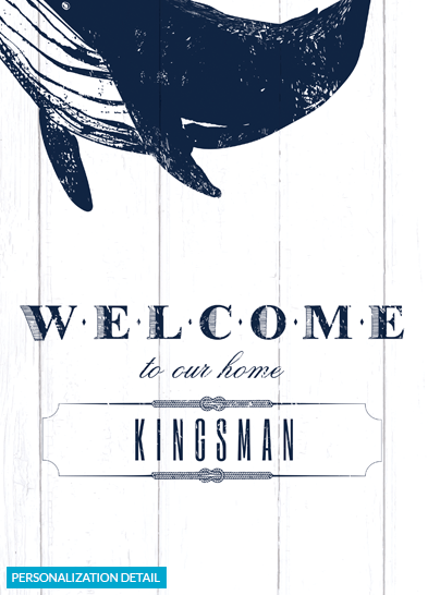 detail view of the personalization on the Whale Welcome print