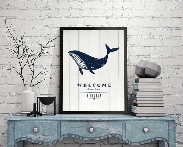 rustic room with Whale Welcome print on a vintage shelf