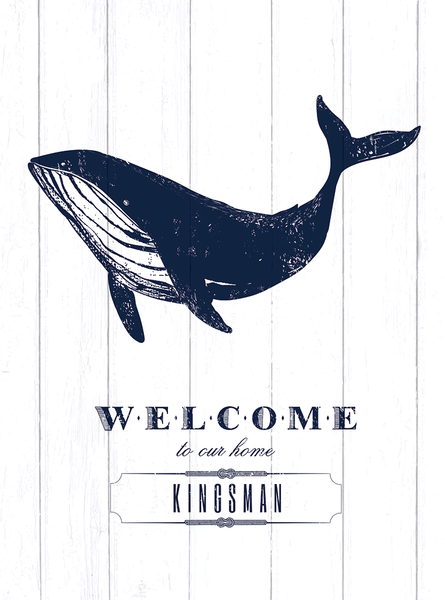 Closer view of Whale Welcome personalized print