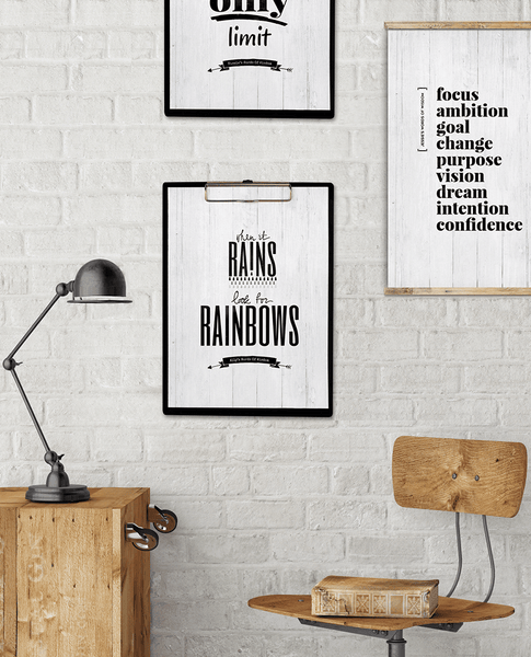 modern contemporary workspace with motivational prints