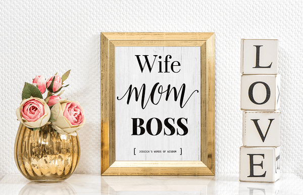 Wife Mom Boss personalized print  in a gold frame on a chic office shelf