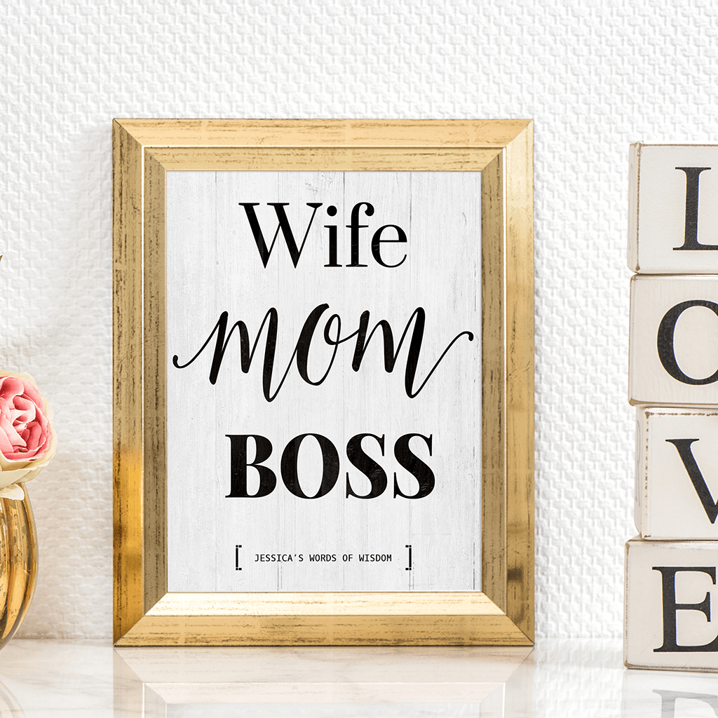 Wife Mom Boss personalized print