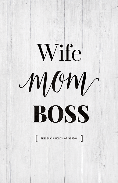 close up look at the Wife Mom Boss personalized print