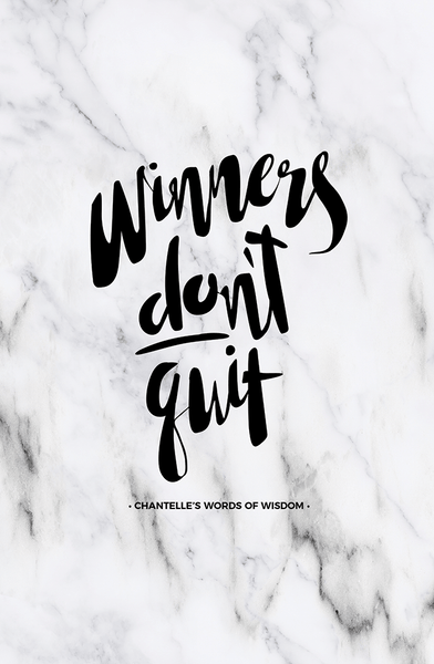 Winners Don't Quit Personalized Print in classic marble