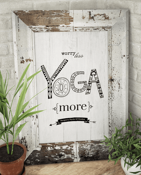 Yoga decor corner with Worry Less Yoga More personalized print