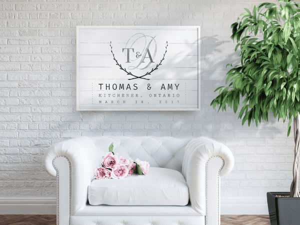 Wedding Day personalized print in a beautiful reception area setting
