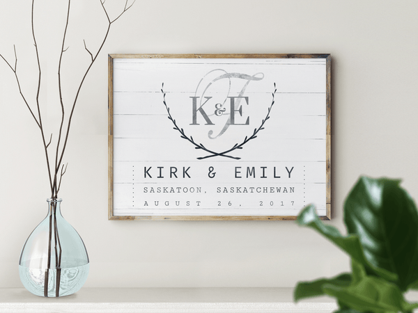 Wedding Day personalized print in a modern farmhouse room