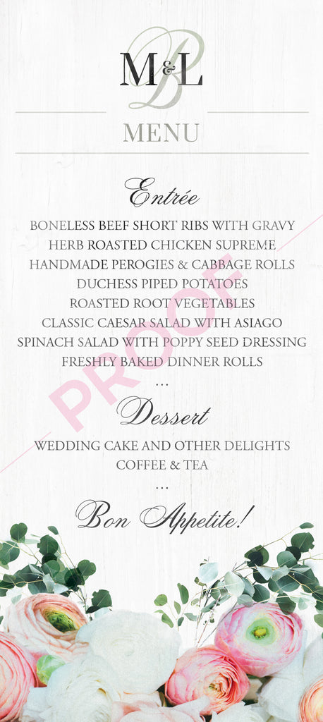 Custom Wedding Menus for Lindsay