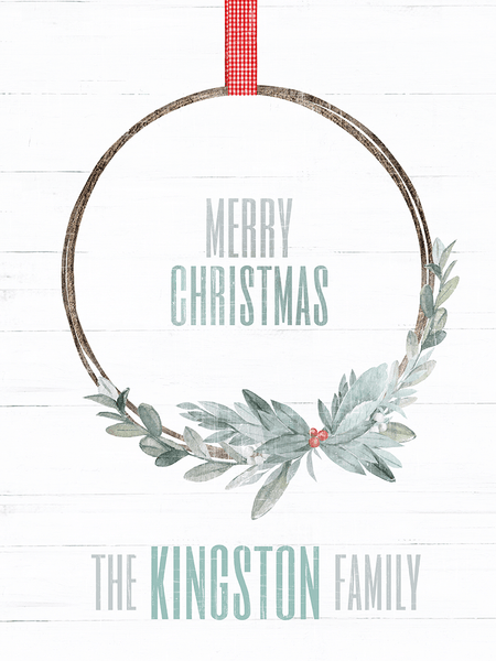 close up of the Xmas Wreath Personalized Print