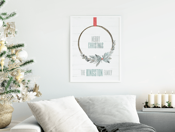 Xmas Wreath Personalized Print displayed in a minimalist, white decor home decorated for Christmas