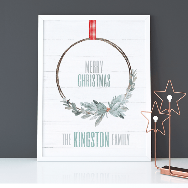 Xmas Wreath Personalized Print in a nordic room