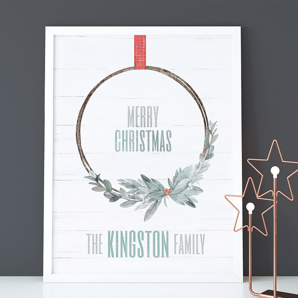 Xmas Wreath Personalized Print. A beautiful boho wreath in winter colors