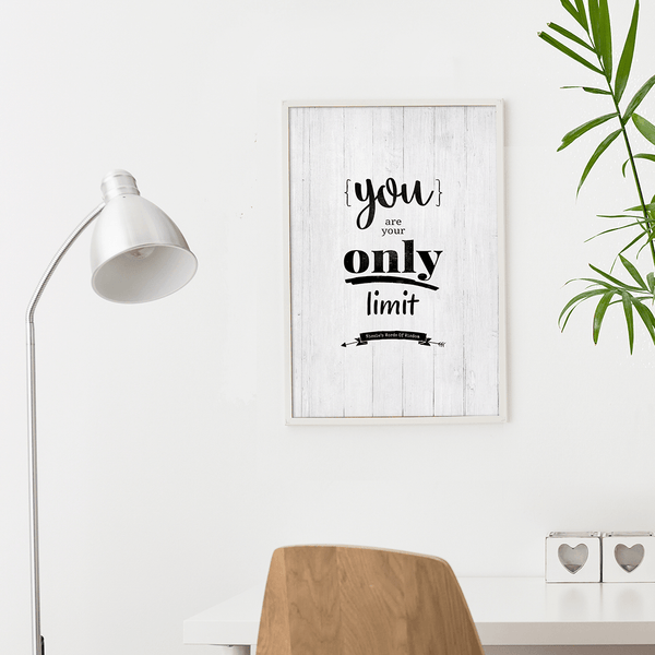 modern, boho home workspace with the You Are Your Only Limit personalized print