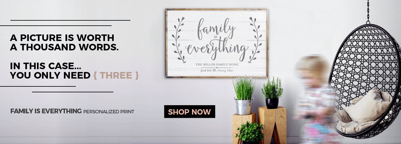 Click here to shop our bestselling Family Is Everything personalized print