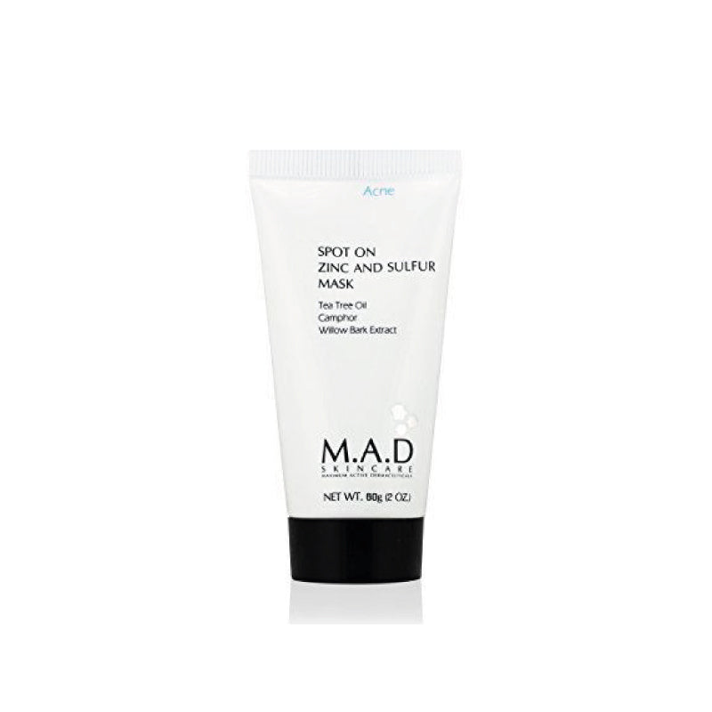 M.A.D. Skin Care. Spot On Zinc and Sulfur Mask, mascarilla para remover el exceso de grasa. 60g