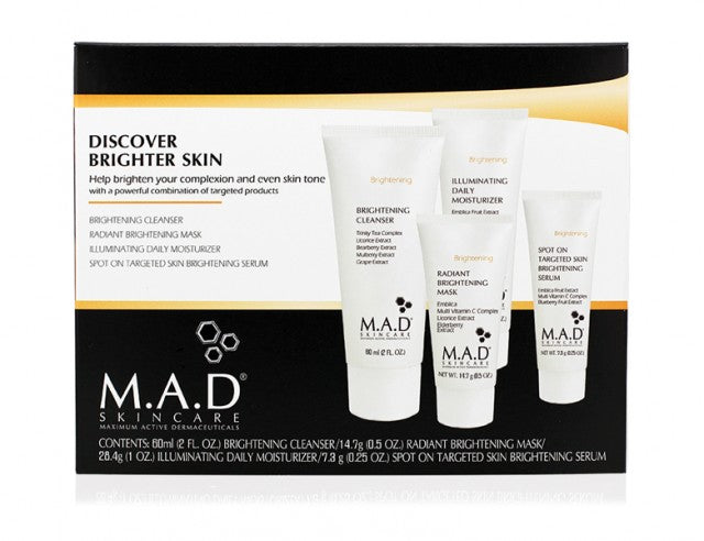 M.A.D. SkinCare. Discover Brighter Skin. Incluye 4 productos