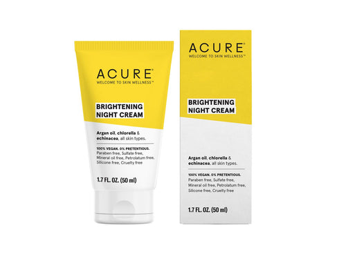 Acure. Brightening Night Cream, crema de noche que humecta, protege e hidrata. 50 ml