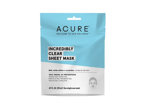 Acure. Incredibly Clear Sheet Mask, con betahidroxiácidos para una piel radiante. 1 pieza