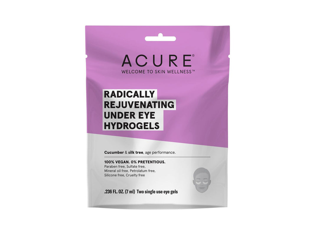 Acure. Radically Rejuvenating Under Eye Hydrogel Mask, para bolsas y arrugas de los ojos. 1 pieza.