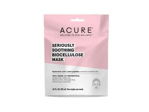 Acure. Seriously Soothing Biocellulose Gel Mask, con rosa, argán y péptidos vegetales. 1 pieza