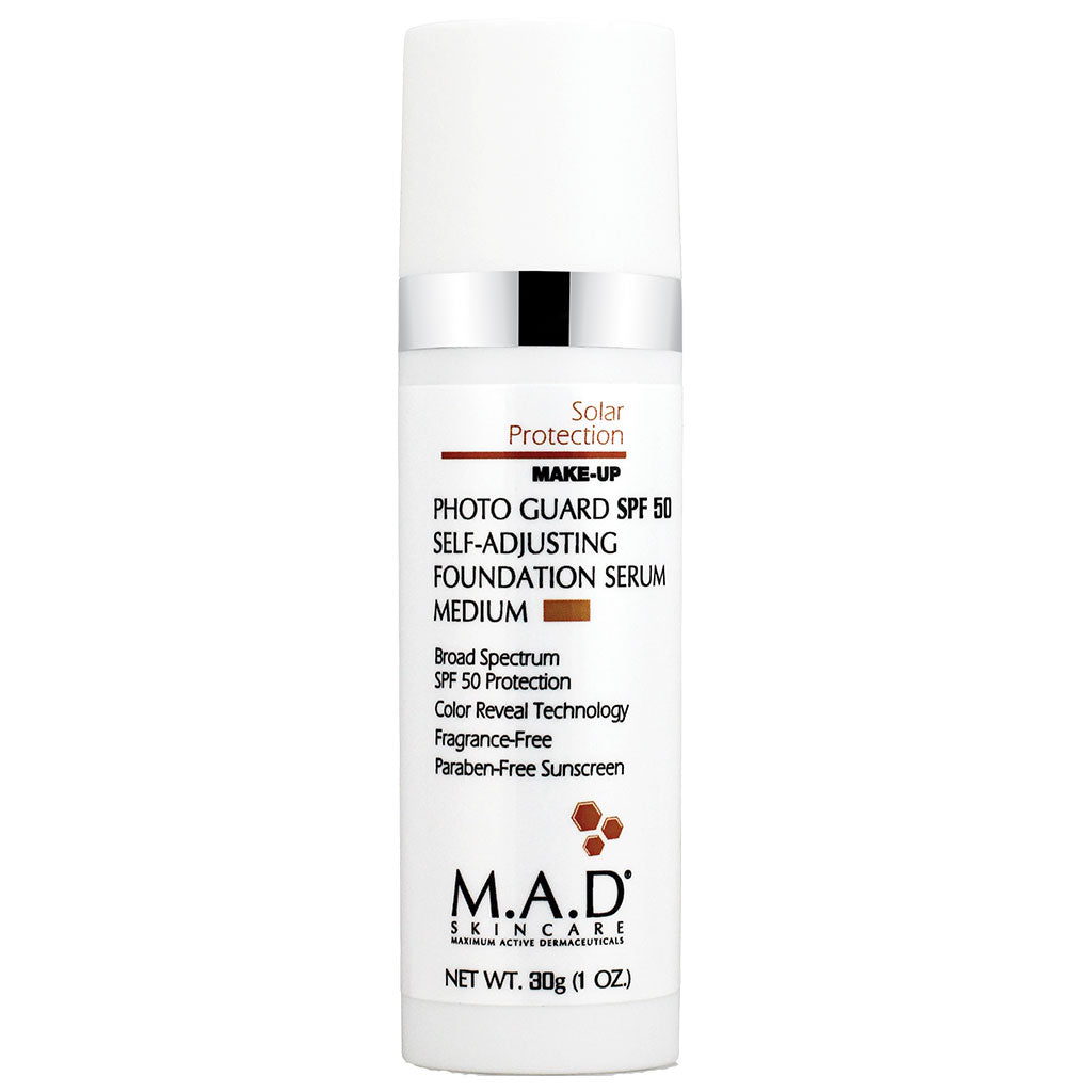 M.A.D. SkinCare. Photoguard SPF 50 Self Adjusting Foundation Serum, base de maquillaje humectante con color autoajustable. 30 gr