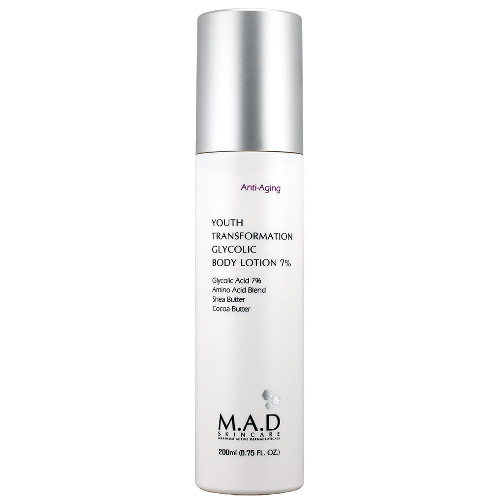 M.A.D. SkinCare. Youth Transformation Glycolic Body Lotion 7%, loción corporal humectante. 200 ml