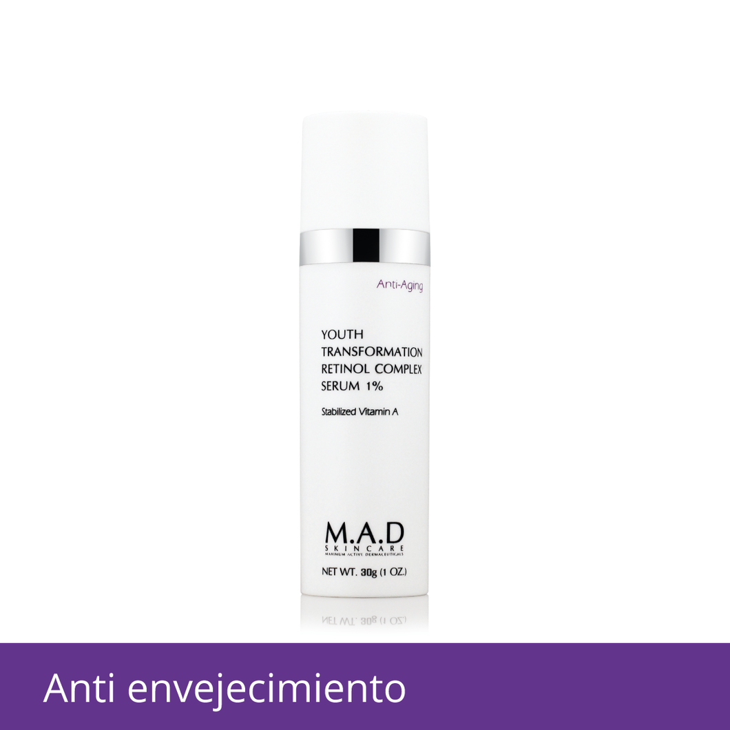Youth Transform Retinol Complex Serum 1%, tratamiento antiarrugas retinol 1%.