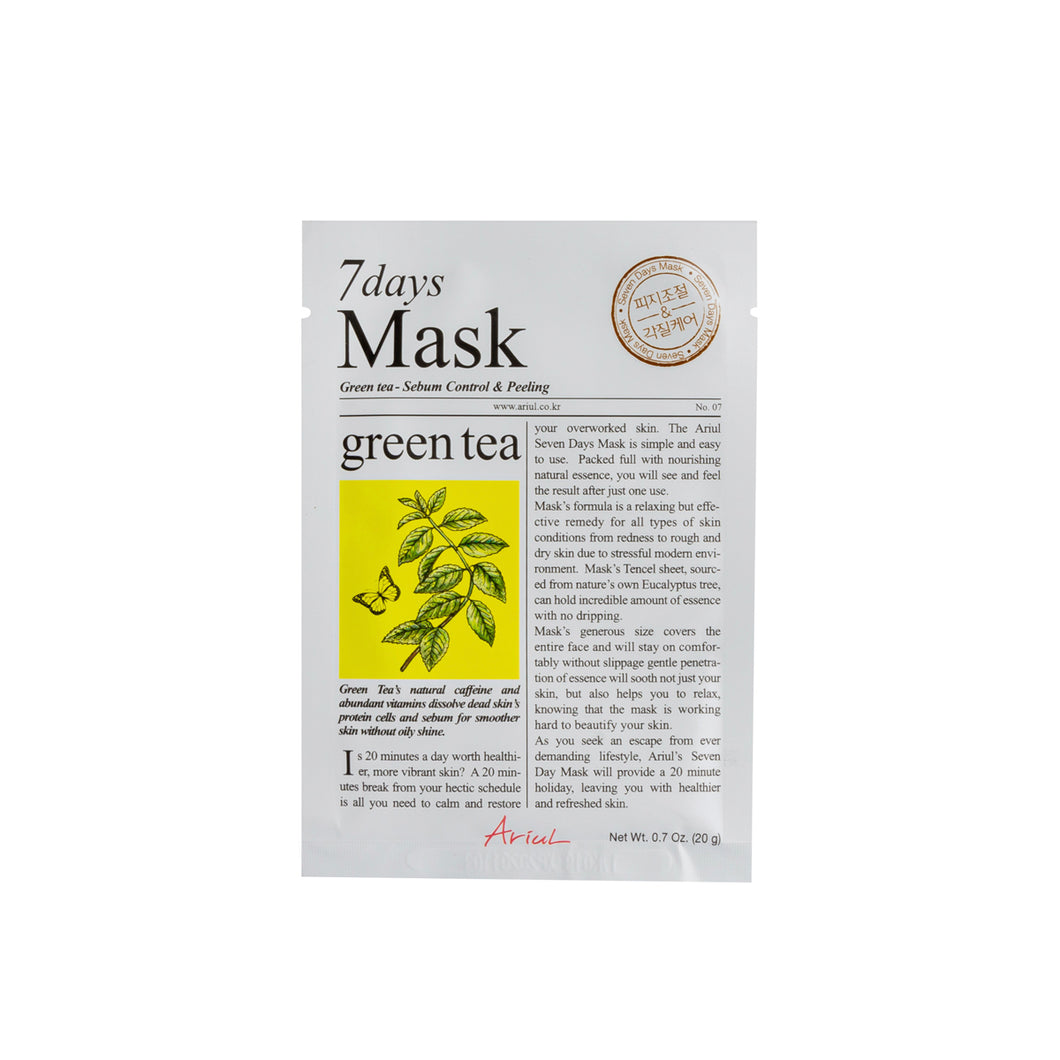 7Days Mask Green Tea, mascarilla de té verde para una piel suave y sin brillo
