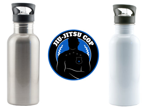 Jiu Jitsu Cop 600ml/20oz Stainless Steel Water Bottle w/ Stem Straw