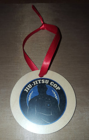 Jiu Jitsu Cop Round Wood Ornament