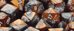 Chessex Dice - Gemini D6 Block -Copper-Steel with White numbers 12mm x36