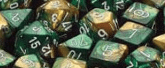 Chessex Dice - Gemini D6 Block -Gold-Green with White numbers 12mm x36