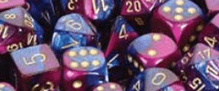 Chessex Dice - Gemini D6 Block -Blue-Purple with Gold numbers 12mm x36
