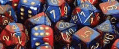 Chessex Dice - Gemini D6 Block -Blue-Red with Gold numbers 12mm x36