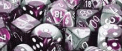 Chessex Dice - Gemini D6 Block -Purple-Steel with White numbers 12mm x36