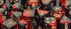 Chessex Dice - Gemini D6 Block -Black-Red with Gold numbers 12mm x36