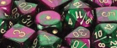 Chessex Dice - Gemini D6 Block -Green-Purple with Gold numbers 12mm x36