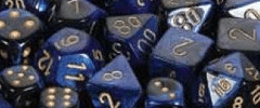 Chessex Dice - Gemini D6 Block -Astral Blue-White with Red numbers 12mm x36