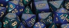 Chessex Dice - Gemini D6 Block -Blue-Green with Gold numbers 12mm x36