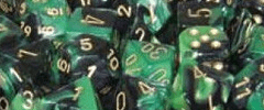 Chessex Dice - Gemini D6 Block -Black-Green with Gold numbers 12mm x36