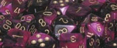 Chessex Dice - Gemini D6 Block -Black-Purple with Gold numbers 12mm x36